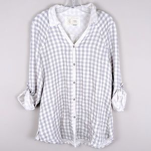 Anthropologie | Soft Plaid Gray Top